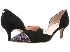 Kate Spade New York - Pam (Black Kid Suede/Purple Glitter/Gold Specchio) Women's Shoes