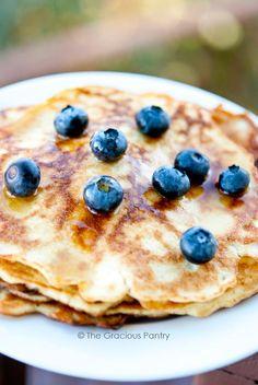 Clean Eating Gluten Free Coconut Pancakes Recipe ~ http://www.thegraciouspantry.com