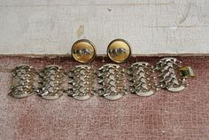 Vintage Rustic Figural Jewelry Set Gold Chain Bracelet With Gold And Silver Panther Earrings