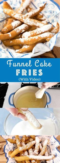 Easy Funnel Cake Fries - delicious cake batter becomes perfect crispy pom . - Easy Funnel Cake Fries – delicious cake batter is fried to perfect crispy french fries. Dessert Simple, Funnel Cake Batter, Funnel Cake Fries, Easy Desserts, Dessert Recipes, Easy Delicious Desserts, Deep Fried Desserts, Cake Recipes, Oreo Desserts
