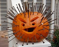 Halloween Craft: Pumpkin with Nails