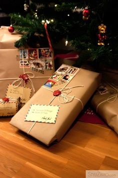 brown paper wrapped gifts with stickers for postage and string ties!