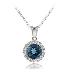 Glitzy Rocks Sterling Silver London Topaz and Cubic Zirconia Necklace, Women's