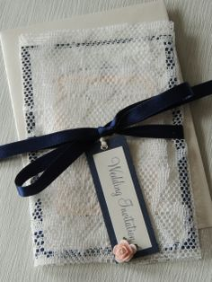 Lace Wrap invite navy, ivory and blush pink handmade by respoke boutique Wedding Stationery, Wedding Invitations, Lace Wrap, Handmade Wedding, Invites, Blush Pink, Reusable Tote Bags, Ivory, Boutique