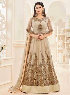 Mouni Roy Beige Net Floor Length Anarkali Suit With Cape 89073