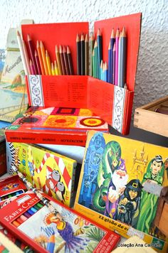 Ana Caldatto : Coleção estojos escolares com seus lápis coloridos