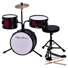 Spectrum Ail 611R 3-Piece Junior Drum Set with Crash Cymbal & Drum Throne - Rockin' Red