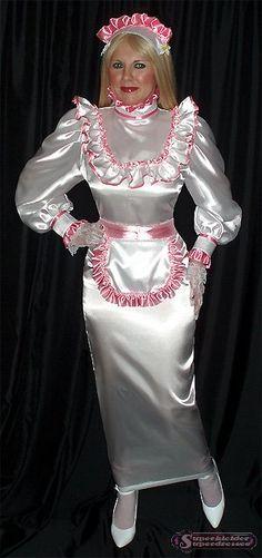 White Satin Blouse and Long White Satin Pencil Skirt and White Satin Maids Apron