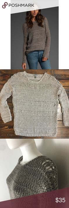 """Vince Tan loose knit sweater In great used condition.  There are a few places that show slight stretching simply from storage but as show in the photo on the mannequin it's nothing that is noticeable.    Boat neck sweater in taupe.     MEASUREMENTS Shoulders (seam to seam): 24"""" Chest: 21"""" Waist: 19"""" Length: 25""""   •• 00185 As always I follow all Postmark rules & No trades. Please make all offers through the offer button - lots of love girls! Vince Sweaters"""