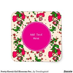 Pretty Kawaii Girl Blossoms Personalized Stickers