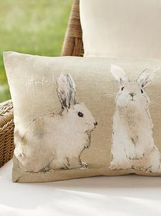 Cottontail bunny pillows from Pottery Barn, so cute for Easter and spring, or all summer on a porch. Hoppy Easter, Easter Bunny, Easter Eggs, Easter Table, Loro Animal, Diy Ostern, Easter Parade, Easter Crafts, Easter Decor