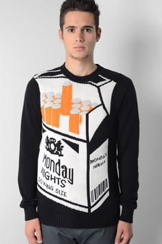 CHRISTOPHER SHANNON GOOD TIME BLACK KNITTED SWEATER