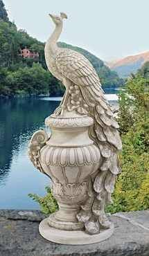 Elegant White Peacock Atop Arched Urn Garden Statue Home Sculpture From  Toscano
