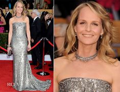 Helen Hunt In Romona Keveza Fall 2012  with a matching clutch by Swarovski and a diamond choker, bevy of bangles and earrings by Neil Lane - 2013 SAG Awards