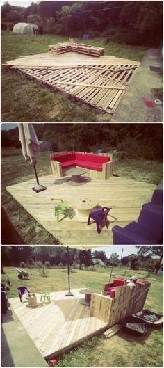 Elle en avait marre de son jardin ... elle décide alors d'utiliser des palettes bon marché pour faire ceci! Le numéro 4 est très cool! - DIY Idees Creatives