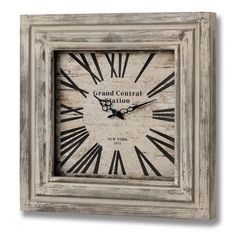Grand Central Station Square Wooden Clock