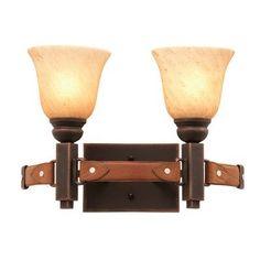 Kalco Rodeo Drive 2 Light Vanity Light Finish: Antique Copper, Shade Type: Iridescent Shell - NS14