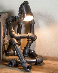 If you are looking for Industrial Lamp, You come to the right place. Here are the Industrial Lamp. This post about Industrial Lamp was posted under the Industrial Decor ca. Metal Art Projects, Welding Projects, Welding Ideas, Welding Crafts, Lampe Steampunk, Pipe Decor, Pipe Lighting, Task Lighting, Lighting Design