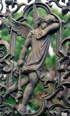 decorative iron gate with Angel