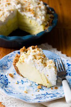 Silky Lemon Cream Pie Recipe on ASpicyPerspective.com #pie #spring #easter