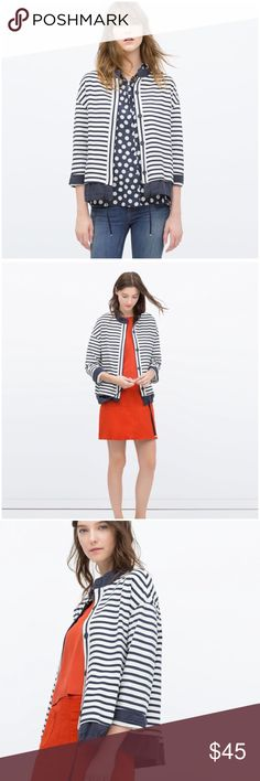 NWT Zara Flowing Blue & White Striped Jacket --- L NWT Zara Flowing Blue & White Striped Jacket --- L --- pictures and details to come Zara Jackets & Coats