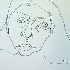 Blind contour self portrait; Christina Cloud