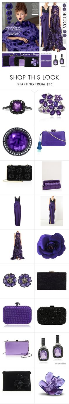 """""""Ultra Violet Statement Bags"""" by yours-styling-best-friend ❤ liked on Polyvore featuring Ross-Simons, Alex Soldier, Serpui, Prada, Nina, Notte by Marchesa, Jason Wu, Chanel, Chesca and Santi"""