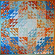 "Tangerine and Teal quilt by Tina Craig at Seaside Stitches: ""I started piecing this quilt in a class with Marianne Hatton called ""It Takes Two Triangles."" Well, it takes two sizes of triangles, but actually 432 pieces!"""