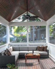 Dazzling sectional couch covers in Porch Traditional with Screened In Porch next to Sectional Couch alongside Wood Roof Ceiling and Lattice Porch Decor Screened Porch Designs, Screened In Patio, Small Patio, Deck Patio, Screened Porch Furniture, Back Porch Designs, Veranda Design, Roof Ceiling, Ceiling Fans