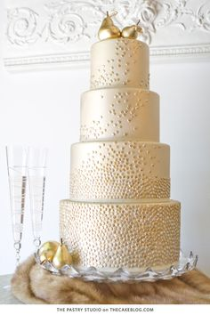 Champagne & Golden Pear Cake | by The Pastry Studio for TheCakeBlog.com