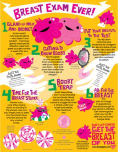 Breast exam ever! This is done in a fun way but gives very important information. They also have one for men and checking for testicular cancer!