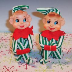 Vintage Duo Striped Pixie Knee Hugger Elves / Elf from ruthsredemptions on Ruby Lane