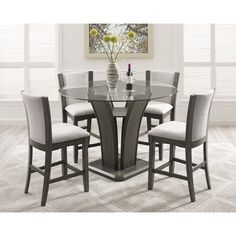 Kecco Gray 5-Piece Round Glass Top Counter Height Dining Set