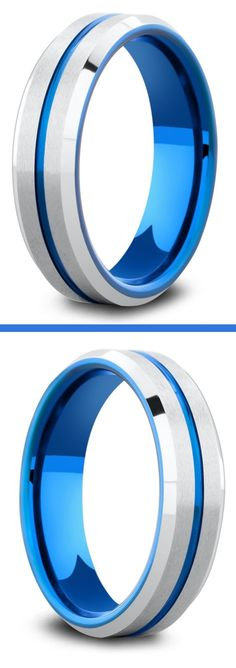 A collection of men's blue wedding rings. Silver and blue rings and black and blue rings. Most are crafted out of tungsten carbide making them super durable and super comfy. This ring features a carved blue center channel. It's available in widths 6mm and 8mm. #bluerings #mensweddingrings