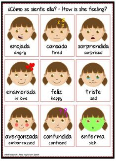 SPANISH FEELINGS Chart Poster Teacher Emotions Autism Spanish