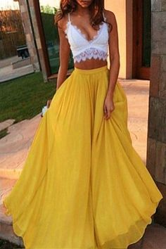 #summer #fashion / lace crop top + yellow maxi skirt