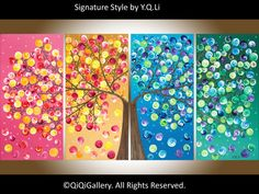 """Original Large Acrylic landscape painting  Impasto four seasons tree """"365 Days of Happiness"""" by qiqigallery-FREE SHIPPING"""