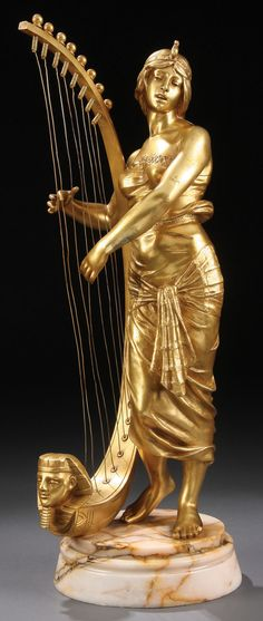 Art Nouveau Egyptian Harpist, French School 19th Century.