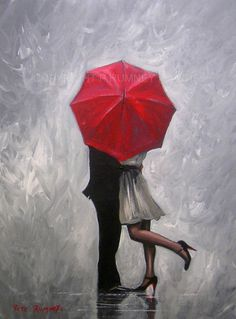 PETE RUMNEY FINE ART BUY ORIGINAL ACRYLIC OIL PAINTING PERFECT LOVE RED UMBRELLA in Art, Direct from the Artist, Paintings | eBay