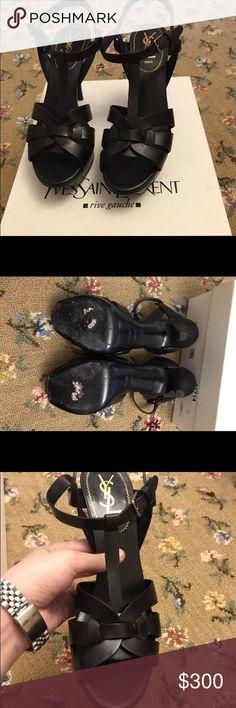 Saint Laurent short matte black tributes size 38 Saint Laurent short matte black tributes size 38. In box no dustbag. Accepting offers Saint Laurent Shoes Heels
