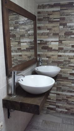 Mueble de ba o aereo con bacha de apoyo ideal para un for Mueble lavabo rustico