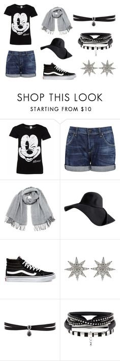 """""""Visit to the Disneyland"""" by goyalshreya ❤ liked on Polyvore featuring Disney, Citizens of Humanity, Vero Moda, Vans, Bee Goddess and Fallon"""
