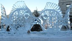Quebec, Canada kissing fish ice sculpture