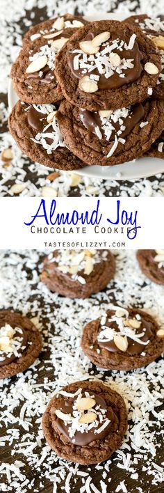 Almond Joy Chocolate Cookies >> by Tastes of Lizzy T's. Bake these Almond Joy Chocolate Cookies for the coconut lover in your life. They're fudgy with chopped Mounds bars inside and chocolate, coconut and almonds on top.