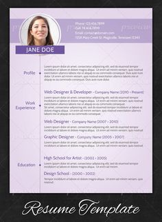 A rare, clearly feminine design that is still simply but bold in its presentation.   Creative Resume Design, Resume Style, CV, Curriculum Vitae  Purple Modern Resume