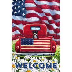 A bright red antique truck with a friendly little black and white pup riding in the bed is the subject of this rustic Americana scene. American flags, green g Truck Paint, Antique Trucks, Vintage Trucks, Outdoor Flags, Outdoor Decor, House Flags, Old Glory, Thing 1, Flag Design