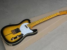 Black & Yellow Electric Guitar with Merle Haggard Signature Tuff Dog-SUPER RARE,Flame Maple Veneer Guilin, Black N Yellow, Electric, Dog, Diy Dog, Doggies, Dogs