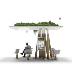 L'Escale Numérique, une oasis de repos connectée et accessible à tous. Installée sur le Rond Point des Champs-Elysées à titre de test. Création Mathieu Lehanneur