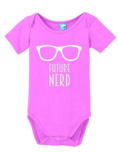 Future Nerd Onesie Funny Bodysuit Baby Romper Gray 0-3 Month LOLOnesies.com