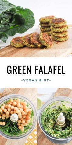 Vegan and gluten-free Green Falafel made with canned chickpe.- Vegan and gluten-free Green Falafel made with canned chickpeas Best Vegan Recipes, Veggie Recipes, Whole Food Recipes, Healthy Recipes, Soup Recipes, Salmon Recipes, Paleo Vegan Recipes Dinner, Gluten Free Recipes Savoury, Healthy No Bake